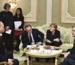 Vladimir Putin, Petro Poroshenko, Angela Merkel and Francois Hollande attend a meeting on resolving the Ukrainian crisis in Minsk