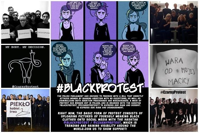 Від середи польки та поляки, які не підтримують заборону абортів, вдягають чорне вбрання, роблять фото та викладають їх у соціальні мережі під хештегом #CzarnyProtest.
