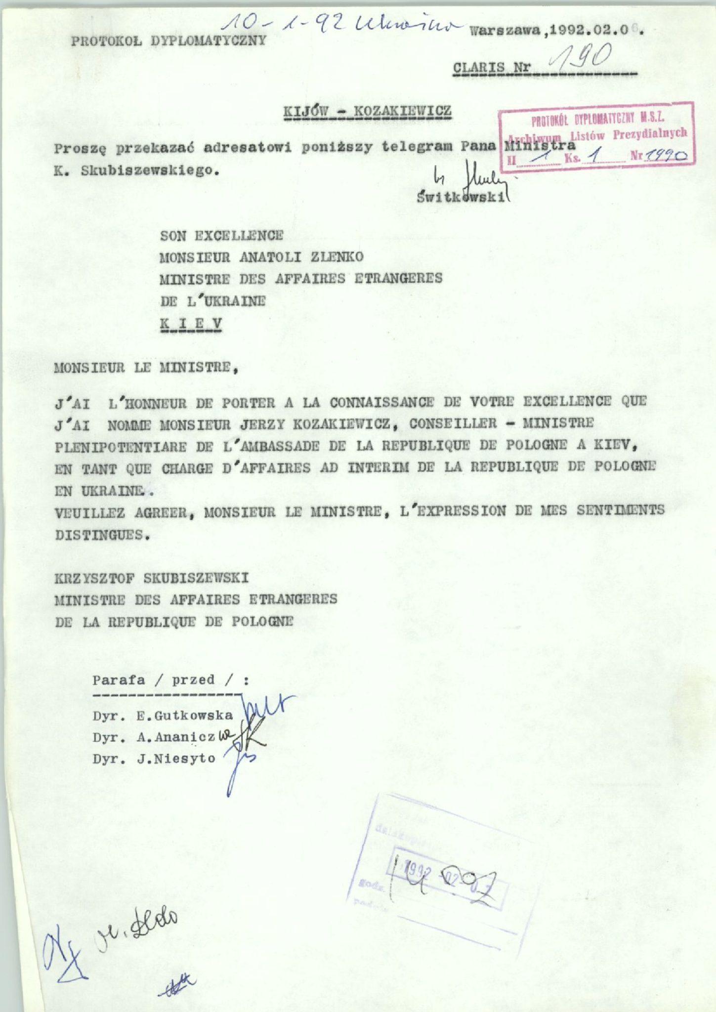 Телеграма міністра Кшиштофа Скубішевського до міністра Анатолія Зленка з інформацією про призначення Єжи Козакевича chargé d'affaires ad interim, 6 лютого 1992