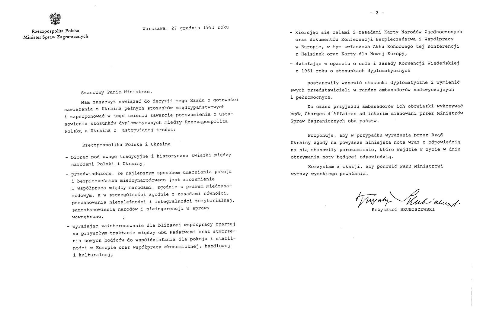 Нота МЗС РП до МЗС України з пропозицією встановлення повноцінних дипломатичних стосунків, 27 грудня 1991