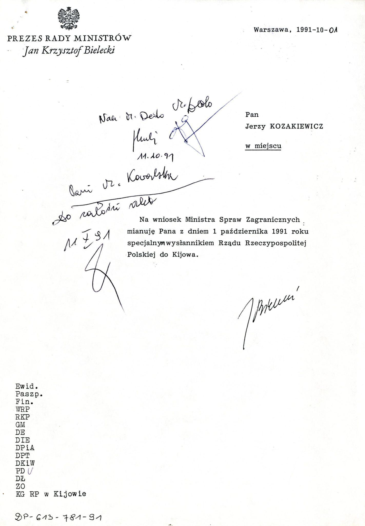 Копія номінації Єжи Козакевича на Спеціального посланника Уряду Республіки Польща у Києві, 1 жовтня 1991