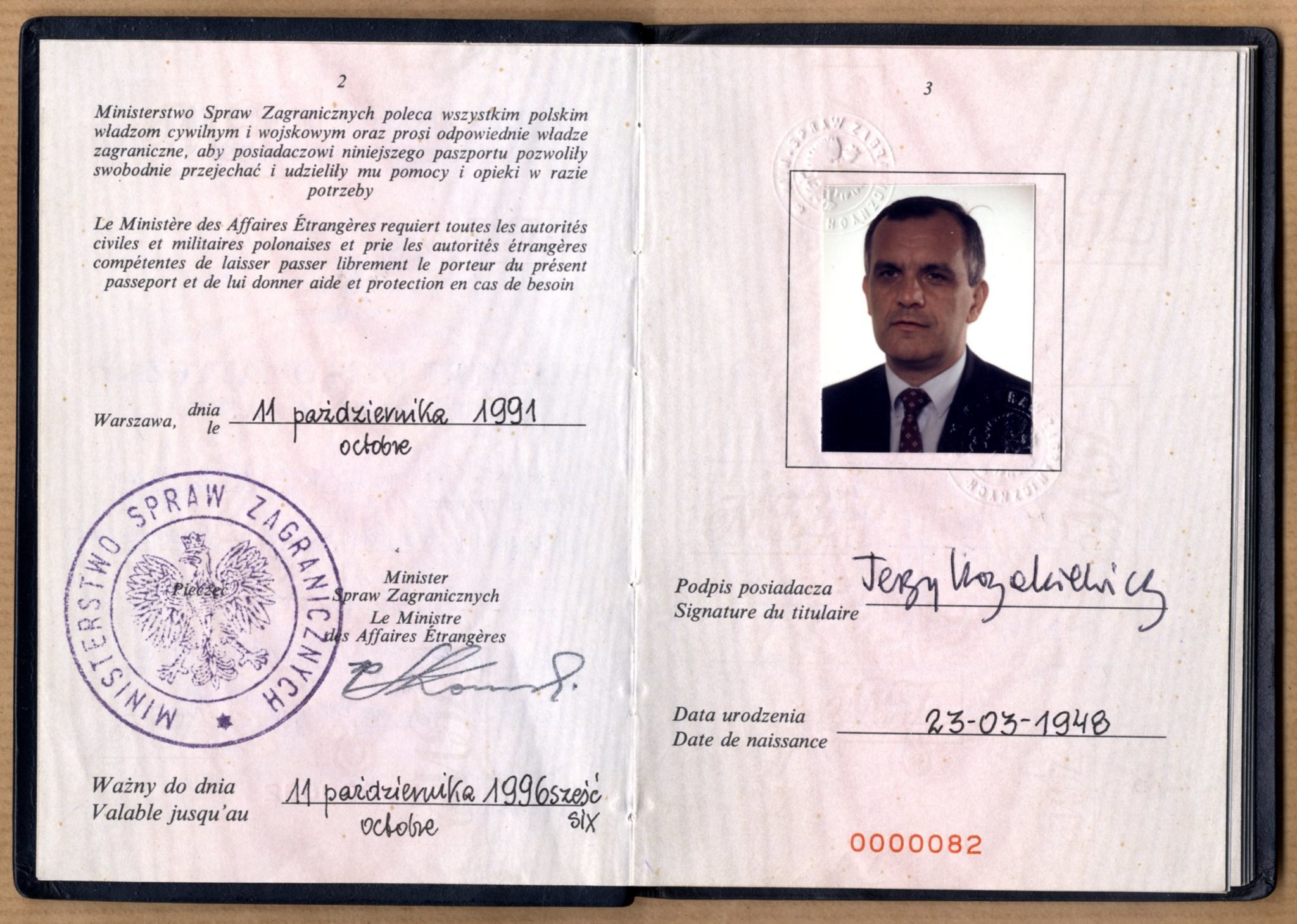 Дипломатичний паспорт Спеціального Посланника Уряду Республіки Польща у Києві Єжи Козакевича, 11 жовтня 1991