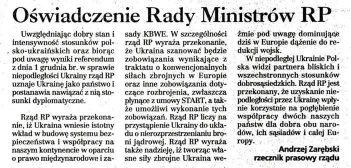 Заява Ради міністрів Польщі про започаткування дипломатичних відносин з Україною, опубліковане в пресі, 3 грудня 1991