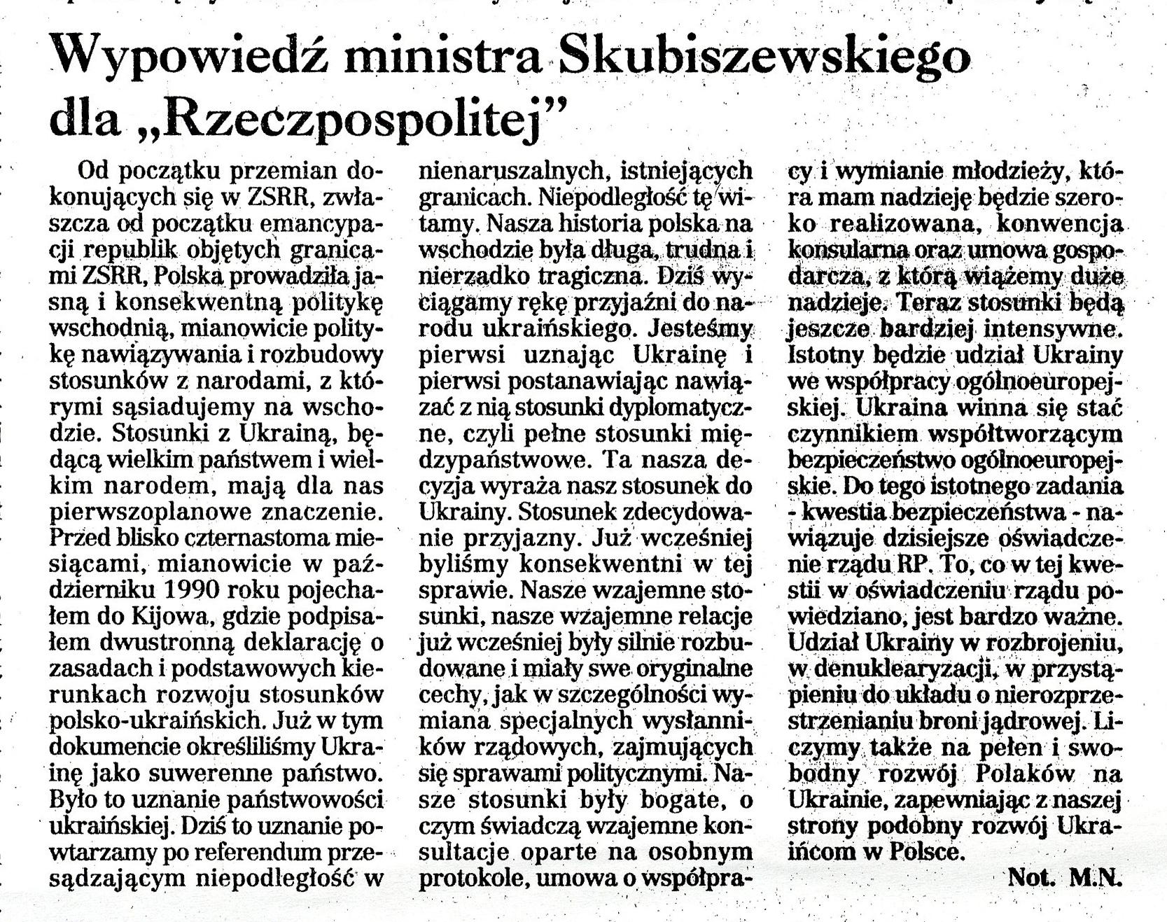 """Коментар Міністра закордонних справ про встановлення дипломатичних відносин з Україною, """"Rzeczpospolita"""" 3 грудня 1991"""
