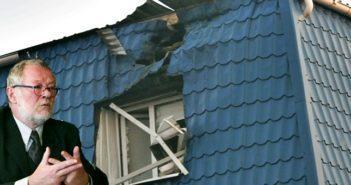 На фото: Генеральне Консульство у Луцьку після обстрілу та консул Кшиштоф Савіцкі. Фото з volyn24.com